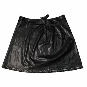 Vegan Leather Skirt With Lacing Hem